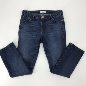 LOFT Womens Curvy Straight Jeans Dark Wash Blue